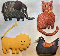 Vintage 1970s Stuffed CALICO PILLOW TOYS Pattern. #toys #children #sewing