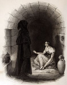 Esmeralda in a jail. An illustration by Burdet from a Paris edition of 1844