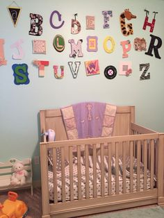Project Nursery - Alphabet Wall in this Mint, Purple and Light Pink Nursery