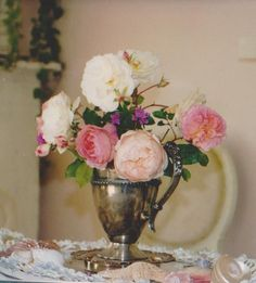 old roses in silver pitcher/LB art studio