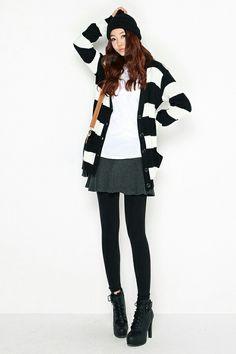 Grey skirt + white shirt + black-white stripe cardigan
