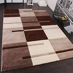 Karo Muster Designer Rug with Contour Cutting Beige / Brown 160x230 cm