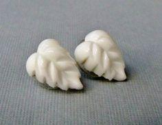 Own Them - Vintage White Milk Glass Earrings