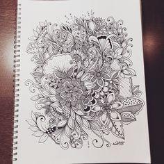 Art by Krisa Bousquet Ink Pen Drawings, Zentangle Drawings, Doodles Zentangles, Zentangle Patterns, Doodle Drawings, Doodling Art, Mandala Doodle, Floral Doodle, Zen Doodle