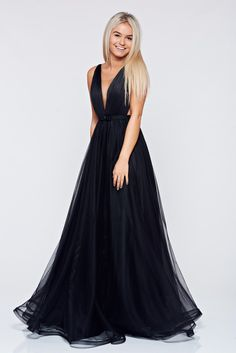 """Ana Radu occasional net black dress with v-neckline bow accessory, bow accessory, tie back belt, """"V"""" cleavage, inside lining, net, nonelastic fabric"""