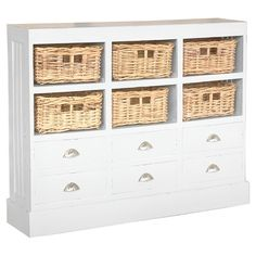 Expertly crafted by artisans in Indonesia, this coastal-inspired cabinet combines 6 drawers and 6 woven baskets for versatile storage options. ...