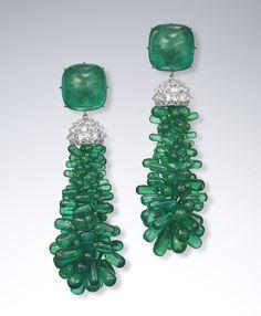Boucles d'oreilles David Yurman en diamants et émeraudes