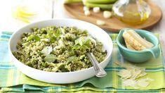 Pesto Rice Salad with Spring Onions and Parmesan Rice Salad, Pasta Salad, How To Make Salad, Cooking Classes, Dinner Tonight, Diy Food, Parmesan, Romantic Recipes