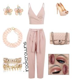 """""""Nudes"""" by irockcrowns ❤ liked on Polyvore featuring Topshop, Castello, Chanel, Mixit, River Island and Kenneth Jay Lane"""
