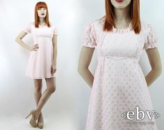 #Vintage #70s Pink + White #Eyelet Babydoll #Summer #Dolly Mini #Dress, fits XS/S by #shopEBV http://etsy.me/1tmNlpR via @Etsy #etsy #lolita, $58.00