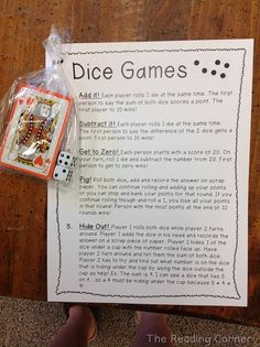 Would be great for an open house/parent night/math night/show-what-you know night event to pass out to parents with or without the dice and cards. This printable + a package of dice from Dollar Tree = stocking stuffer for 8 year old son Dice Games, Math Games, Math Activities, Therapy Activities, Airplane Activities, Activity Games, Family Activities, Math Classroom, Kindergarten Math