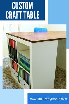 How to make a custom craft table using Ikea Kallax shelves and a tabletop. This is a DIY table that you can make for your craft room. An easy DIY craft tutorial idea. #thecraftyblogstalker #crafttable #customfurniture #diy Ikea Kallax Shelf, Project Steps, Fun Diy Crafts, Diy Table, Custom Furniture, Diy Tutorial, Tabletop, Diy Home Decor, Tutorials