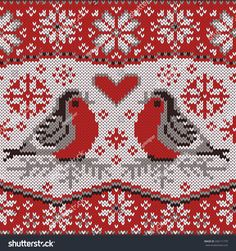 Christmas card with bullfinches, nordic knitted pattern. Decorative seamless border with beautiful winter birds. Intarsia Knitting, Knitting Charts, Knitting Patterns Free, Knit Patterns, Cross Stitch Bird, Cross Stitch Designs, Cross Stitching, Cross Stitch Patterns, Motif Fair Isle
