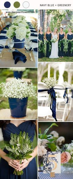 navy blue and greenery wedding color ideas for 2018 #blueweding #weddingcolors #weddingideas / http://www.deerpearlflowers.com/navy-blue-wedding-color-combo-ideas/ #WeddingCeremony
