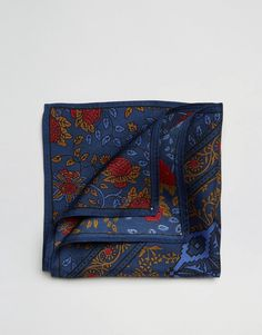 ASOS Pocket Square In Silk With Navy Paisley Print