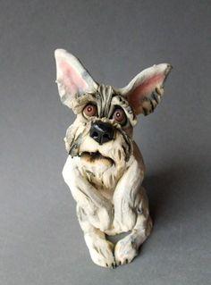 Schnauzer or Terrier Dog Ceramic Sculpture by RudkinStudio on Etsy