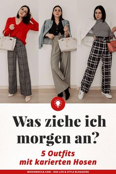 5 outfit ideas on how to combine plaid pants! ~ Top Beauty Looks Checkered Outfit, Checkered Trousers, Plaid Pants, Cochella Outfits, Turtleneck Shirt, Striped Turtleneck, Outfit Zusammenstellen, Pants Outfit, Rock Chic