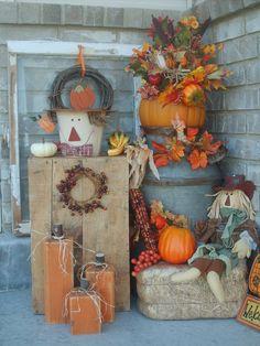fall porch - like the wooden pumpkins!