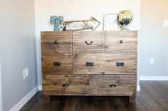 This PB Teen-Inspired dresser holds plenty of clothes for growing kids and has a beautiful, rustic look. For the plans for the bed and nightstand, as well as a tutorial on how I distressed the wood, visit the link in the Teen Furniture, Cheap Furniture, Furniture Stores, Furniture Outlet, Plywood Furniture, Furniture Ideas, Furniture Design, Industrial Furniture, Rustic Furniture