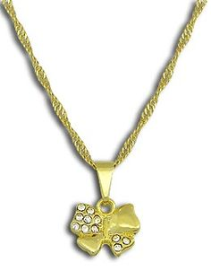 Gargantilha folheada a ouro e pingente de lacinho c/ strass Código: G0696