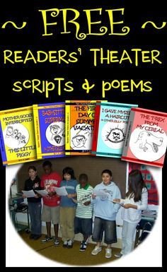 Free readers' theater scripts & poems that provide fast, funny reading fluency activities for students in 3rd, 4th, 5th, and 6th grades.