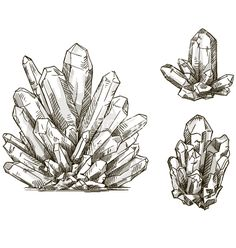 Set of crystals drawings vector by kamenuka on VectorStock®