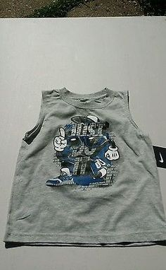 Boys size 3t Heather gray Nike Just do it sleeveless tee brand new with tag blue