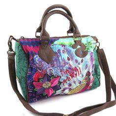 french touch bag Desigual green purple multicoloured.