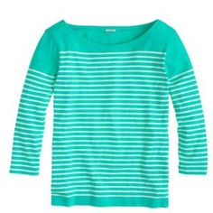 "J. Crew Green Engineered-Stripe Boatneck Top, EUC Excellent Used Condition. Size Small. No defects or imperfections. J. Crew describes this as: ""This slim top has some artful origins—a photo of Picasso hanging in the design area, in which he's wearing an iconic stripe sailor tee. To recreate the layout, the team carefully engineered the skinny stripe to hit slightly lower on the arms (which happens to be super-flattering).  Slim fit. Cotton. Body length: 24"". Machine wash."" J. Crew Tops Tees…"