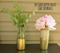Two versions of gold dipped vases #tutorial #diy #gold