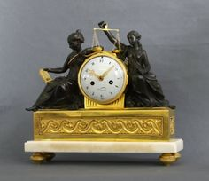 Good neo-classical cartonnier French Louis XVI ormolu and bronze sculptural mantel clock,  signed Vincent, circa 1775
