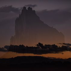 "Photo @ladzinski / Sunset over the iconic Shiprock Pinnacle. This prominent feature in North Eastern New Mexico called by the Navajo as Tsé Bit'a'í ""Rock With Wings"" is a sacred formation to the Navajo Nation. In-camera #doubleexposure by natgeo"