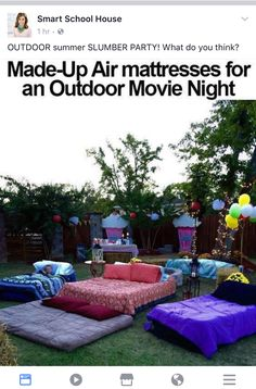 Outdoor movie night date night family night idea Fun Sleepover Ideas, Sleepover Party, Slumber Parties, Party Ideas For Teenagers, Birthday Party Ideas For Teens 13th, Sleepover Crafts, Backyard Movie Nights, Outdoor Movie Nights, Outdoor Movie Party
