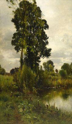 Ernest Parton (1845-1933) - Summer landscape, oil on canvas, 145 x 88 cm.