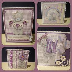 Purple tatty teddy cards 1st Birthday Cards, Baby Girl 1st Birthday, Birthday Cards For Women, Baby Girl Cards, New Baby Cards, 3d Cards, Cute Cards, Fizzy Moon, Digital Designer