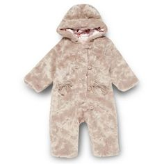 Babies pale pink faux fur snowsuit at debenhams.ie
