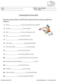 PrimaryLeap.co.uk - Choosing the Correct Verb - is, am or are (2) Worksheet