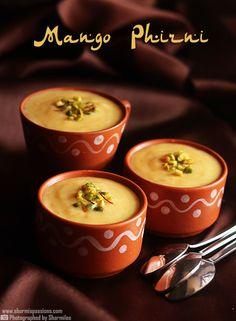Mango Phirni a variation to the traditional Phirni recipe .Phirni is an Indian rice pudding like dessert.Mango Phirni / Firni is prepared . Lunch Box Recipes, Sweets Recipes, Cooking Recipes, Indian Dessert Recipes, Indian Sweets, Mango Recipes, Tofu Recipes, Healthy Recipes, Phirni Recipe