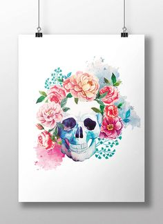 REPIN NOW for later! Floral Skull Printable Wall Art Watercolor Day of by DigartDesigns