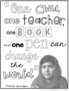 Malala Yousafzai Classroom Activities - FREE coloring page and quote analysis activity for Women's History Month. Classroom Quotes, Teacher Quotes, Classroom Activities, Teacher Tips, Classroom Ideas, Malala Yousafzai, Women In History, Ancient History, Teacher Inspiration