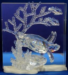 "Swarovski crystal ""Wonders Of The Sea"" depicts a ""Community"" of 3 banner fish and coral"