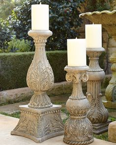 Cast-Stone Outdoor Candlesticks by GG Collection at Neiman Marcus. Cast-Stone Outdoor Candlesticks by GG Collection at Neiman Marcus. Decor, Candle Holders, Outdoor Decor, Candle Decor, Patio Inspiration, Candles, Tuscan Decorating, Outdoor Candlesticks, Cast Stone