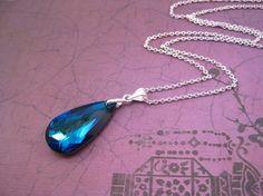 blue swarovski necklace from beadedsparkle on etsy, love the color