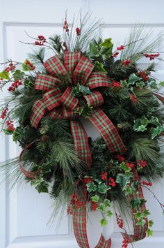 Christmas wreath with long needle pine, ivy and plaid bow by HeatherKnollDesigns on Etsy https://www.etsy.com/listing/209527615/christmas-wreath-with-long-needle-pine
