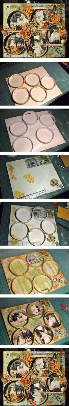DIY Tape Reel Picture Frame - could also do this with mason jar lid rings for a smaller frame Altered Canvas, Altered Art, Mixed Media Collage, Mixed Media Canvas, Arts And Crafts, Paper Crafts, Diy Crafts, Cadre Photo Diy, Photo Craft