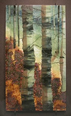 Roger Thomas Glass Studio - ARBOREAL: Opus Silent Shadow - this is sooooo beautiful. Glass Wall Art, Fused Glass Art, Mosaic Glass, Stained Glass, Landscape Glass, Glass Plaques, Fusion Art, Glass Design, Glass Panels