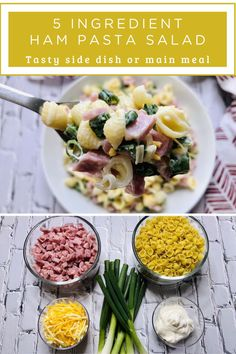 With only 5 ingredients, this Ham Pasta Salad couldn't be easier, faster, and tastier. Yummy noodles with a creamy dressing, salty ham bits, cheese, and tangy green onions makes the perfect summer salad. One of my personal go-to's all summer long! Make this salad for your next get together. Ham Pasta, Pasta Salad, Yummy Noodles, Salad Dishes, Yummy Pasta Recipes, Homemade Soup, How To Make Salad, Green Onions, Summer Salads