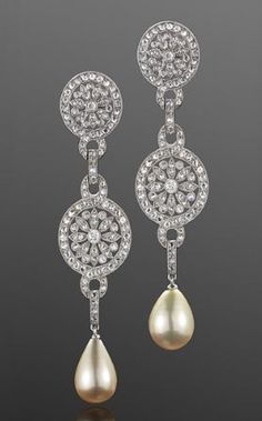 Natural Pearl and Diamond Pendant Earrings, circa 1905.Photo courtesy ofFred Leighton.