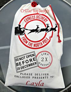 Santa Sack, Large Gift Bag, North Pole Delivery, Canvas Xmas Bag, Special Delivery Sack, Children's Present, Kids Christmas Wrapping by CritterBugDesigns on Etsy