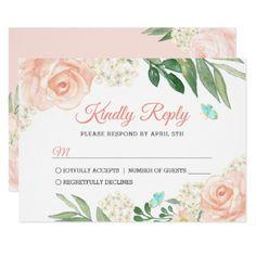 Elegant Blush Peach Watercolor Floral Wedding RSVP Card - wedding invitations cards custom invitation card design marriage party